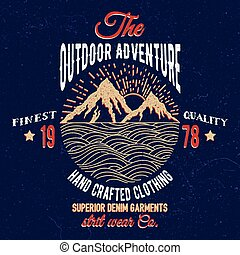berg, en, zee, avontuur, emblem.