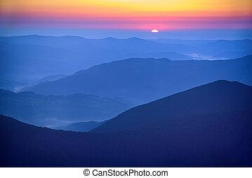 berg, erstaunlich, sonnenaufgang