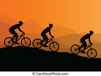 berg, fahrrad, natur, maenner, radfahrer, aktive, vektor,...