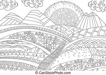 berg, farbton- buch, sonnenaufgang, dein, landschaftsbild