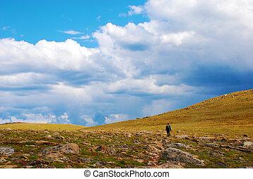 berg, felsig, tundra, spaziergang