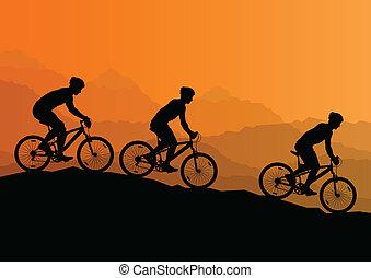 berg, fiets, natuur, mannen, fietsers, actief, vector,...