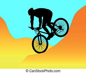 berg fietser, paardrijden, bergen