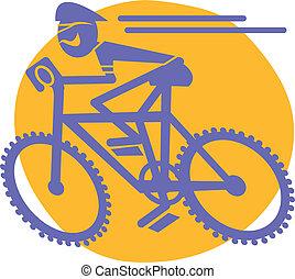 berg fietser, rijdende fiets