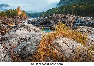 berg, fluß, mit, steinen