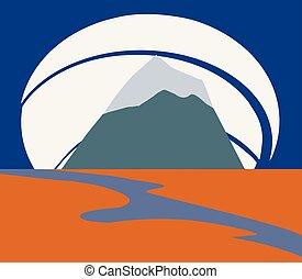 berg, flußquerformat, freiheit