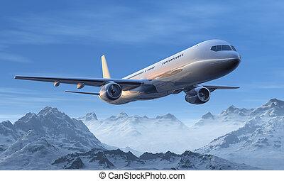 berg, flug, spitzen, verschneiter , aus, verkehrsflugzeug,...