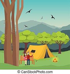 berg, frau, camping, feuer, paar, bäume, wald, hintergrund, front, mann, zelt