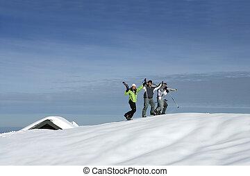 berg, friends, ski fahrend