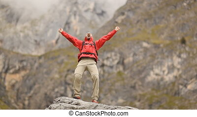 berg, glücklich, mann