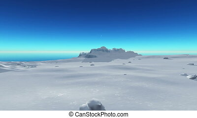 berg, glace, mer, 4k