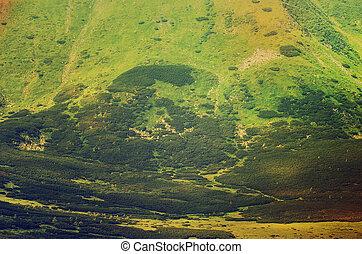 berg, grün, hintergrund
