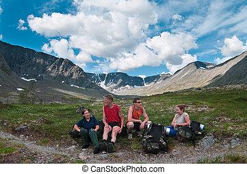 berg, groep, reizigers