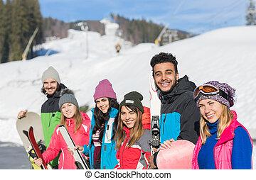 berg, groep, winter, mensen, ski, sneeuw, vakantiepark, snowboard, het glimlachen, vakantie, vrienden, vrolijke