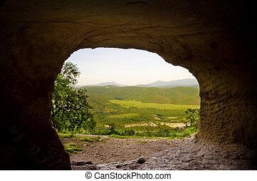berg, höhle, sunrise.