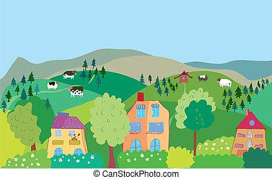 berg, hügel, bäume, karikatur, dorf, kühe, landschaftsbild