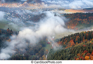 berg, herbst, slowakei, wald, dorf, landschaftsbild
