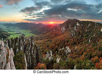 berg, herbst, slowakei, wald, sulov, landschaftsbild