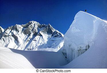 berg, himalayas, beklimming