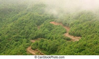 berg, himalayas, prachtig, nevelige dag, aanzicht