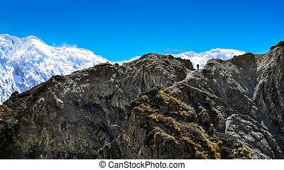berg, himalayas, trekker, silhouette, bergen