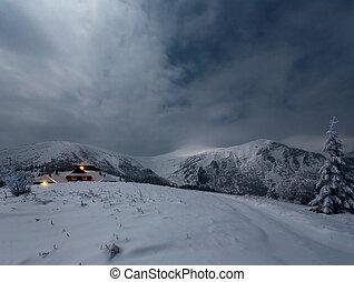 berg, house., winterlandschaft, nacht
