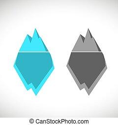 berg, ijs, illustratie, pictogram