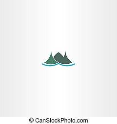 berg, ijsland, meldingsbord, groene, logo, pictogram