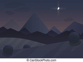 berg, illustration., moon., bomen, vector, achtergrond, nacht, spotprent, landscape