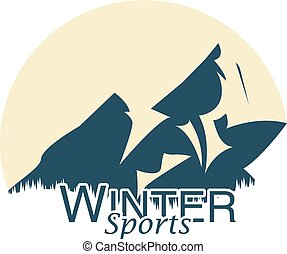 berg, illustration., sports., vektor, logo, extrem, winter