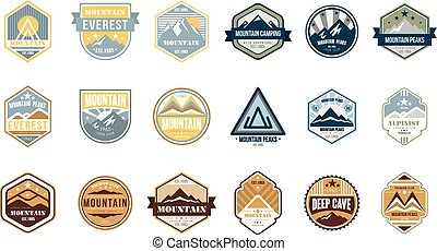 berg, kamperen, logo, set, alpinist, bergtopen, diep, grot, retro, ouderwetse , stijl, emblems, en, kentekens, vector, illustraties, op, een, witte achtergrond