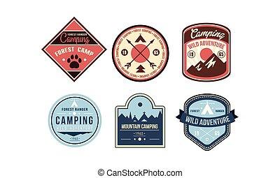 berg, kamperen, retro, logo, kentekens, set, boszwerver, kamp, wild, avontuur, ouderwetse , etiketten, vector, illustratie, op, een, witte achtergrond