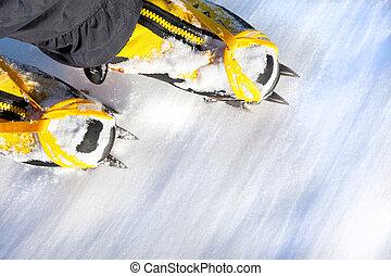 berg, laarzen, hoog, paar, crampons, snow.