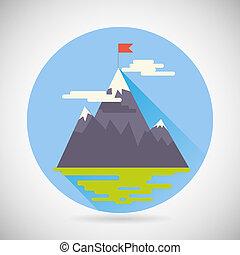 berg, land, wolkenhimmel, ziel, punkt, symbol, modern,...