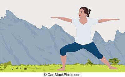 berg landschap, achtergrond, en, een, vrouw, doen, yoga,...
