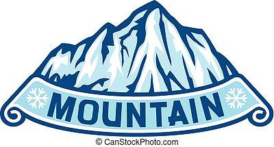 berg landschap, etiket