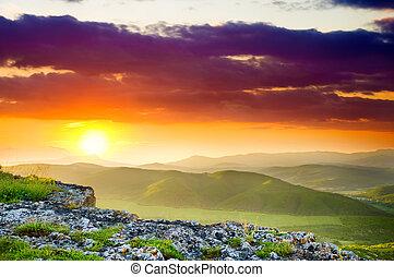 berg landschap, op, sunset.