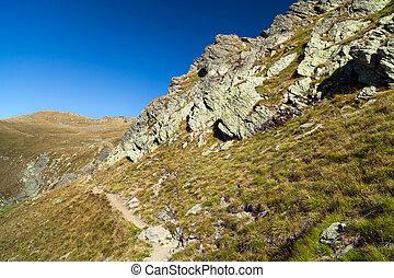 berg landschap, spoor