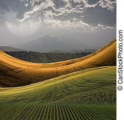 berg landschap, vredig