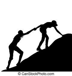 berg, letzter , sie, geben, abschnitt, auf, hand, portion, m�dchen, klettern, freund