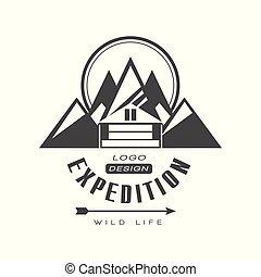 berg, leven, buiten, expeditie, meldingsbord, ouderwetse , symbool, illustratie, vector, exploratie, avontuur, achtergrond, logo, wild, black , witte , ontwerp