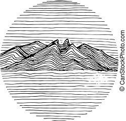 berg, lineair, illustratie