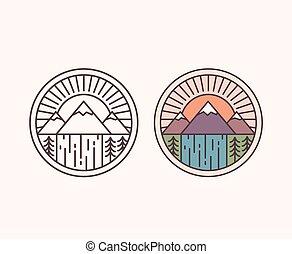 berg, linie, emblem