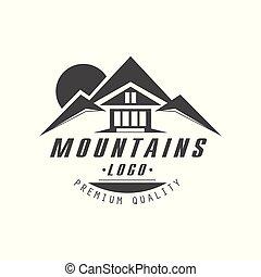 berg, logo, premie, kwaliteit, ouderwetse , zwart wit, berg, exploratie, buitene avontuur, symbool, vector, illustratie, op, een, witte achtergrond