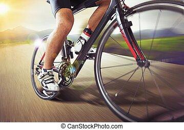 berg, looppas, fiets, vasten