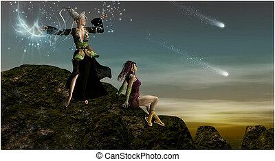 berg, magisch, maidens