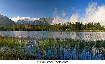 berg meer, in, slowakije, tatra, -, strbske, pleso