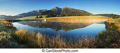 berg meer, panorama, -, slowakije, tatras, op, zonopkomst