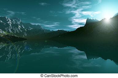 berg, meer