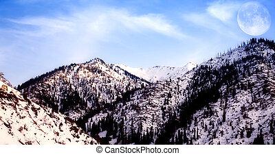 berg, mond- himmel, landschaftsbild, groß